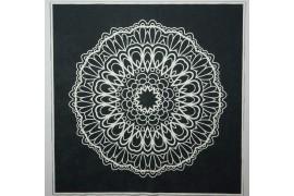 Panel poduszkowy - biała rozeta, czarne tło