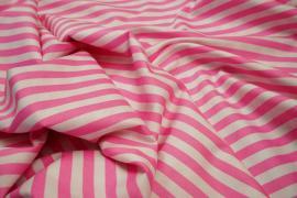 Bawełna - różowo-białe paski 7 mm