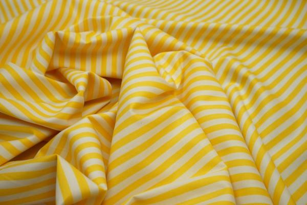 Bawełna - żółto-białe paski 5 mm