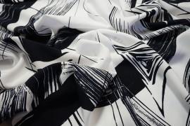 Tkanina sukienkowa - biało-granatowy wzór