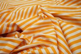 Bawełna - pomarańczowo-białe paski 7 mm