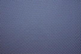 Bawełna drukowana w białe kropki na granatowym tle