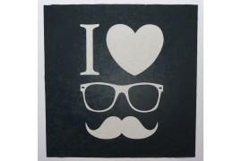 Panel poduszkowy - biały wąs i okulary na czarnym tle