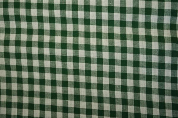 Bawełna vichy - ciemnozielona kratka, 1 cm