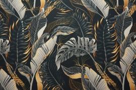 Tkanina dekoracyjna - grafitowo-złote liście