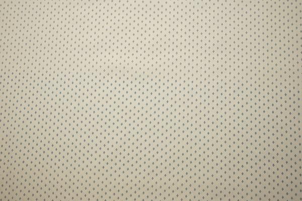 Bawełna drukowana w niebieskie kropki na kremowym tle