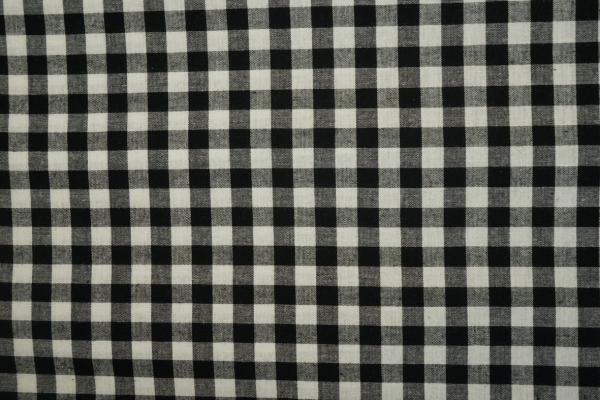 Bawełna vichy - czarna kratka, 1 cm