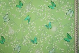 Dzianina - zielone motyle