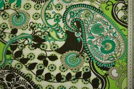 Dzianina - zielony paisley