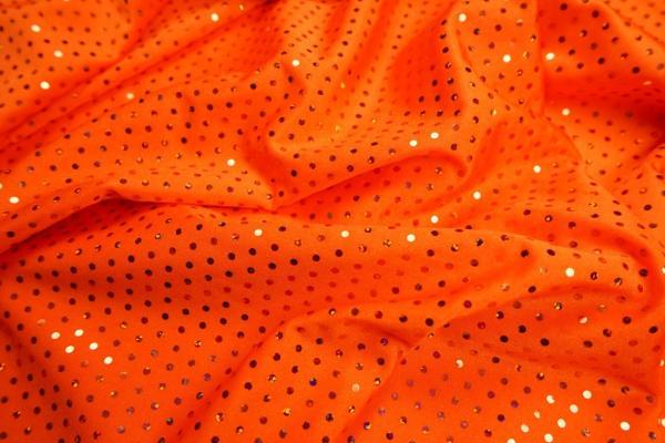 Lycra z cekinami - kolor pomarańczowy