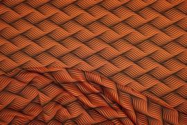 Lycra drukowana - pomarańczowe fale