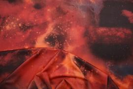 Lycra drukowana - kosmos w odcieniach czerwieni