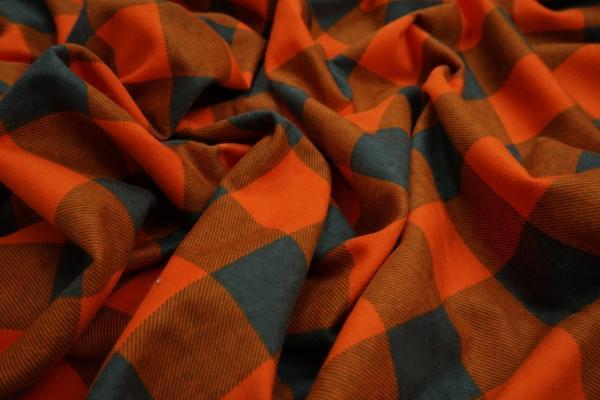 Flanela - pomarańczowo-granatowa kratka
