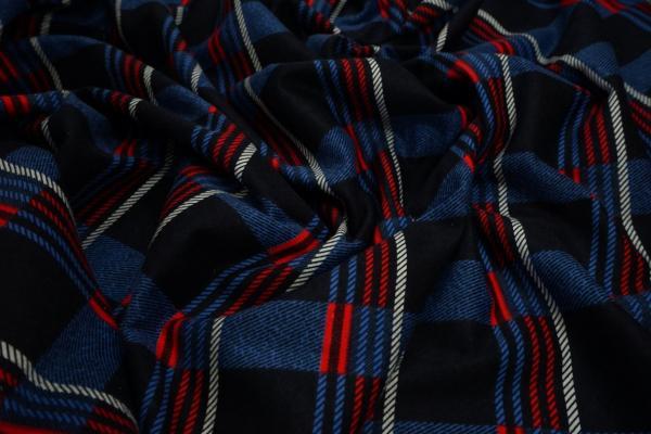 Flanela - krata w odcieniach niebieskiego i czerwonego