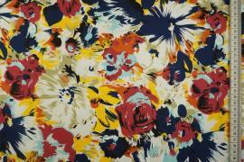 Bawełna z lycrą - wielokolorowe kwiaty