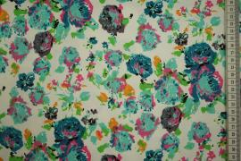 Bawełna z lycrą - kolorowe kwiaty