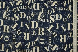 Bawełna z lycra - litery na granatowym tle