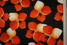 Bawełna z lycrą - pomarańczowe kwiaty