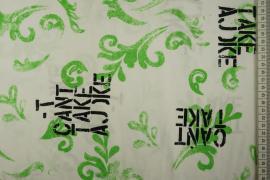 Bawełna z lycrą - czarne napisy, zielone wzory
