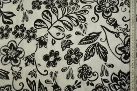 Bawełna z lycrą - czarne kwiaty i listki