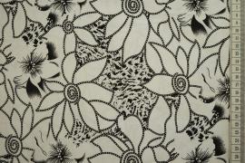 Bawełna z lycrą - czarne kwiaty