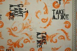 Bawełna z lycrą - czarne napisy, pomarańczowe wzory