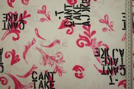 Bawełna z lycrą - czarne napisy, różowe wzory