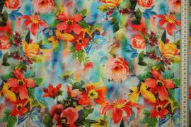 Dzianina sukienkowa - kolorowe kwiaty