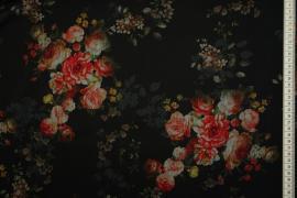 Tkanina szyfonowa - róże na czarnym tle