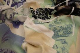Tkanina lniana z kolorowym nadrukiem