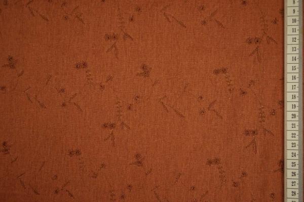 Len z wiskozą haftowany - brązowy odcień