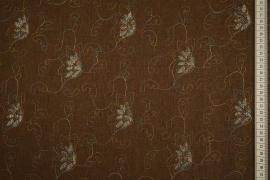 Len z wiskozą haftowany w kolorze brązowym