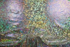 Lama hologram wielokolorowa na białym podkładzie