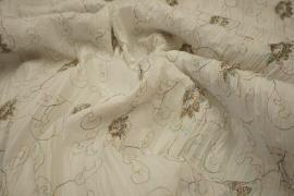 Bawełna w kolorze białym z kolorowym haftem