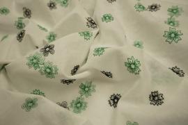Bawełna haftowana w zielone i czarne kwiatki