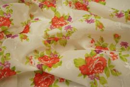 Bawełna haftowana w kwiaty