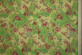 Tkanina sukienkowa - kwiaty na zielonym tle