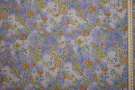 Tkanina sukienkowa - kwiaty na fioletowym tle