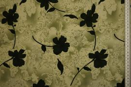 Tkanina sukienkowa - ciemnozielone kwiaty