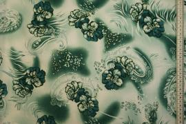 Tkanina sukienkowa - kwiaty w odcieniach zieleni
