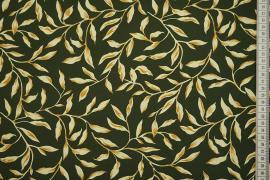 Tkanina sukienkowa - liście na zielonym tle