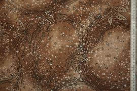 Tkanina sukienkowa - brązowe liście