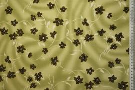 Tkanina sukienkowa - oliwkowe kwiaty