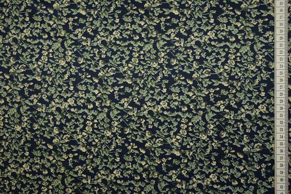 Tkanina sukienkowa w kwiaty na granatowym tle