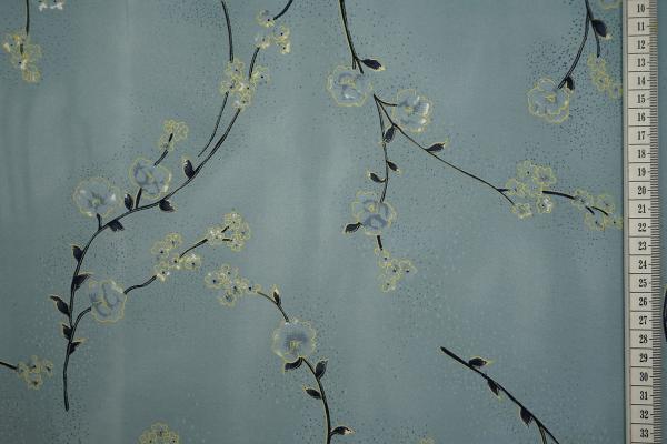 Tkanina sukienkowa w żółto-niebieskie kwiaty