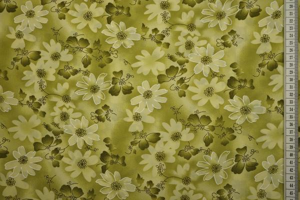 Tkanina sukienkowa - kwiaty na oliwkowym tle