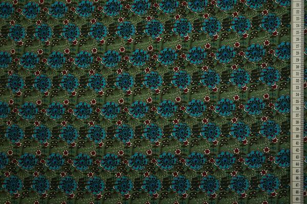 Tkanina sukienkowa - turkusowe kwiatki