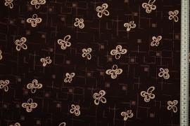 Tkanina sukienkowa - motylki na brązowym tle