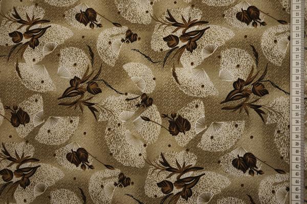 Tkanina sukienkowa - wachlarze na beżowym tle