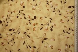 Tkanina sukienkowa - tulipany na beżowym tle